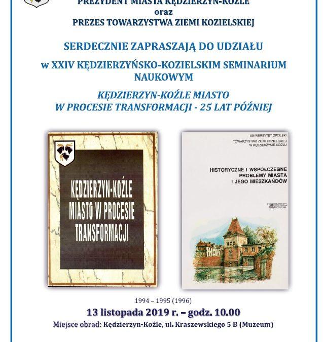 XXIV Kędzierzyńsko-Kozielskie Seminarium Naukowe  – 13 XI 2019 r.